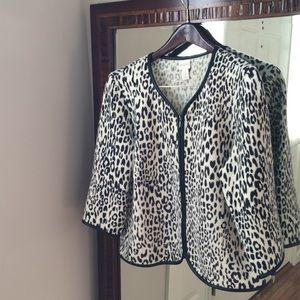 Chico's Women Leopard Wool Jacket